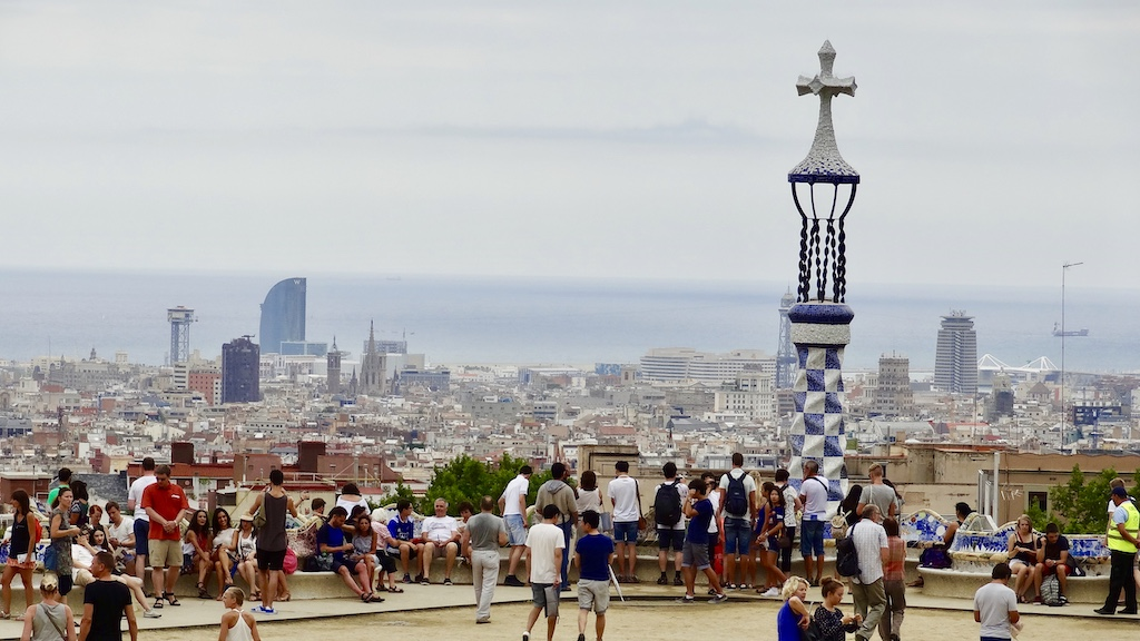 Park Guell Barcelona in the background