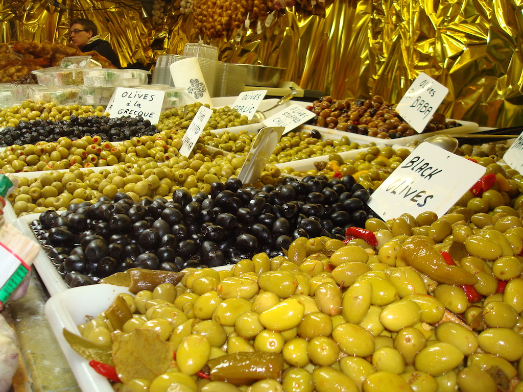Olives and produce at Manchester Christmas Markets